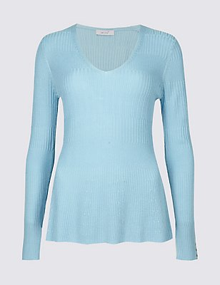 Ribbed Peplum Hem V-Neck Jumper, BRIGHT BLUE, catlanding