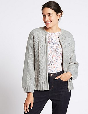 Cable Knit Round Neck Cardigan, , catlanding