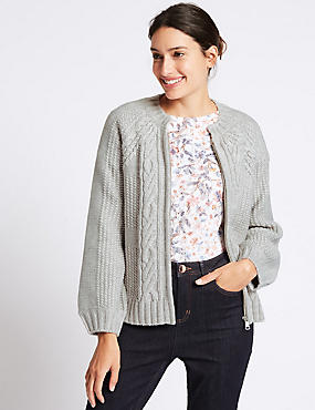 Cable Knit Round Neck Cardigan, SILVER GREY, catlanding