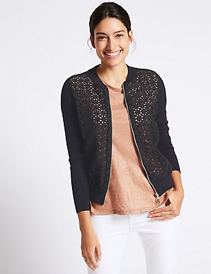 Pure Cotton Lace Bomber Cardigan, NAVY MIX, catlanding
