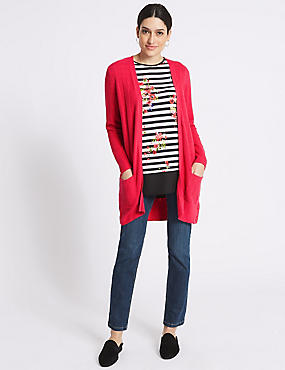 Ribbed Open Front Long Sleeve Cardigan , BRIGHT RED, catlanding