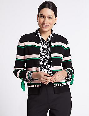 Pure Cotton Striped Cuff Tie Cardigan, BLACK MIX, catlanding