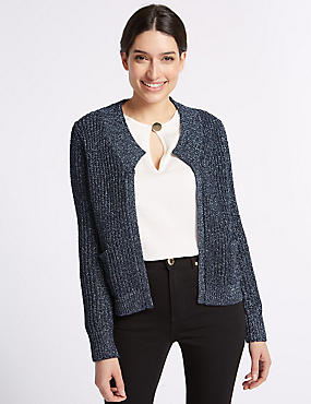 Textured Round Neck Long Sleeve Cardigan, NAVY, catlanding