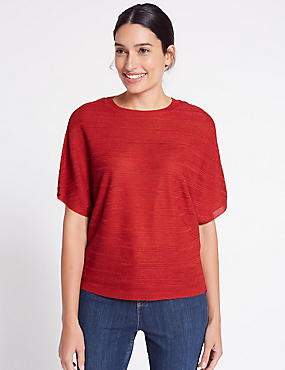 Batwing Round Neck Half Sleeve Jumper, RED, catlanding