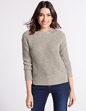 Textured Round Neck Long Sleeve Jumper, MULTI, catlanding