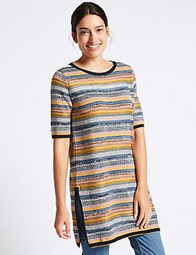 Cotton Blend Striped Tunic Jumper, NAVY MIX, catlanding