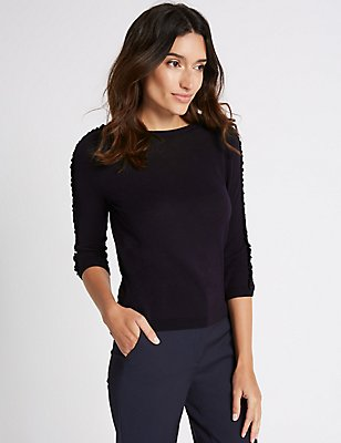 Lace Applique Round Neck 3/4 Sleeve Jumper, NAVY, catlanding