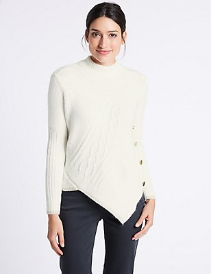 Textured Asymmetric Hem Turtle Neck Jumper, CREAM C, catlanding
