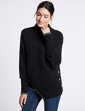 Textured Asymmetric Hem Turtle Neck Jumper, NAVY, catlanding