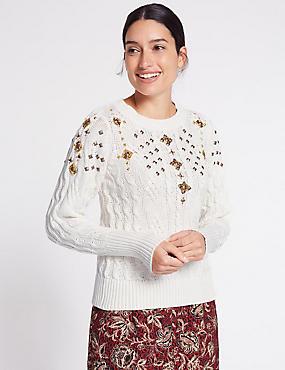 Cotton Blend Embellished Cable Knit Jumper, WINTER WHITE, catlanding