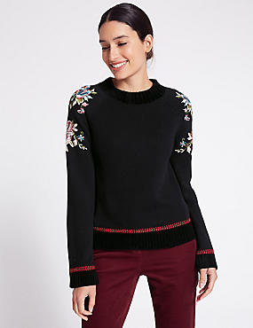 Pure Cotton Embroidered Sleeve Jumper, BLACK MIX, catlanding