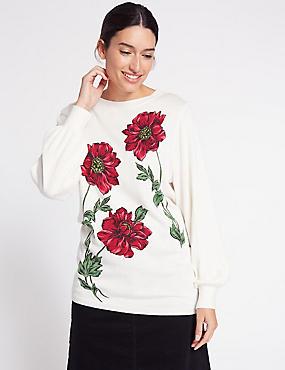 Floral Print Round Neck Jumper, MULTI, catlanding