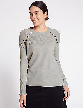 Cashmilon™ Button Shoulder Jumper, GREY, catlanding