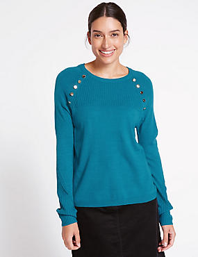 Cashmilon™ Button Shoulder Jumper, KINGFISHER, catlanding