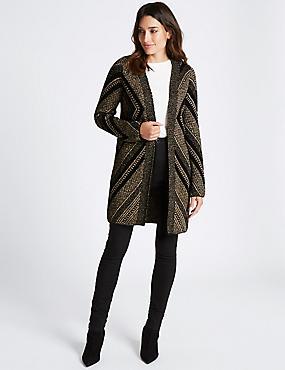 Open Front Textured Longline Cardigan, BLACK MIX, catlanding
