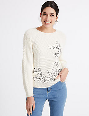 Embroidered Cable Knit Round Neck Jumper, CREAM, catlanding