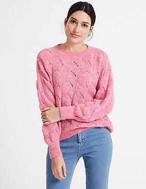Cable Knit Round Neck Jumper, RASPBERRY, catlanding