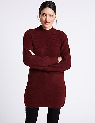 Funnel Neck Tunic Jumper, BURGUNDY, catlanding