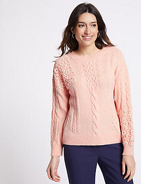 Lace Round Neck Jumper , BLUSH, catlanding