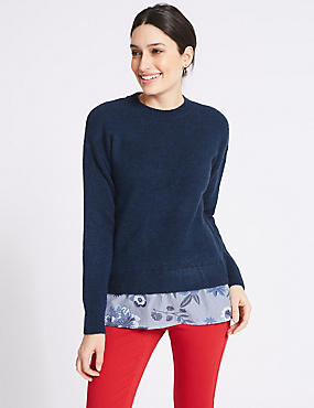 Striped Mock Shirt Long Sleeve Jumper, NAVY MIX, catlanding
