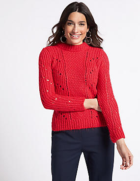 Textured Round Neck Long Sleeve Jumper, BRIGHT RED, catlanding