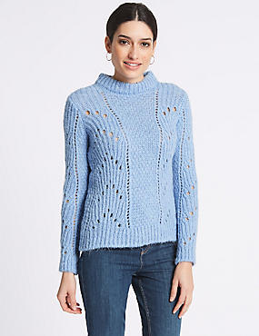 Textured Round Neck Long Sleeve Jumper, SOFT BLUE, catlanding