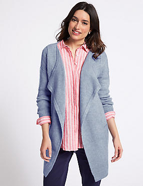 Textured Waterfall Long Sleeve Cardigan , BLUEBELL, catlanding