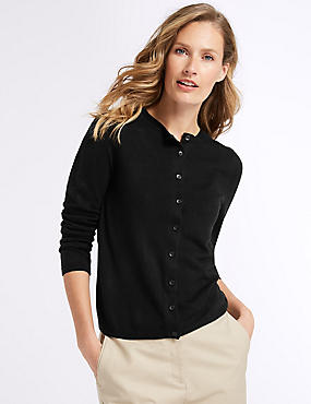 Ribbed Round Neck Cardigan, BLACK, catlanding