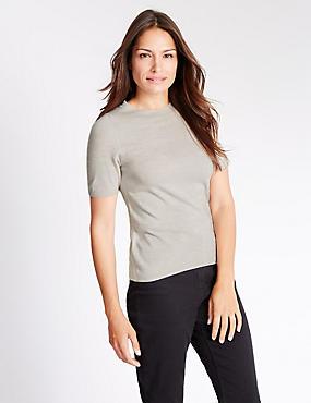 Cashmilon™ Round Neck Short Sleeve Jumper, SILVER, catlanding