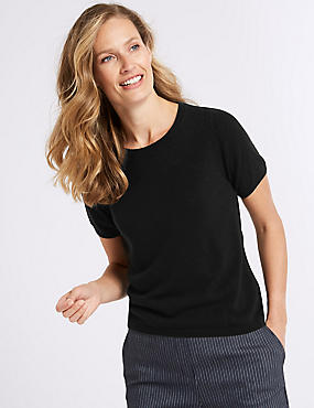 Ribbed Round Neck Short Sleeve Jumper, , catlanding