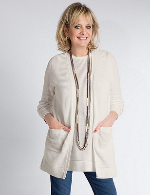 Pure Cotton Longline Cardigan, SOFT WHITE, catlanding