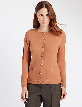 Long Sleeve Cardigan with Wool, BURNISHED COPPER, catlanding