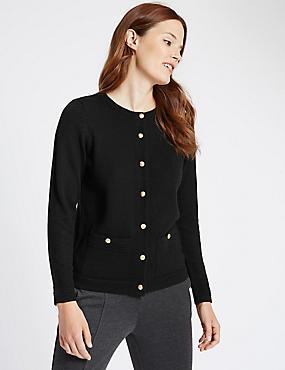 Long Sleeve Cardigan with Wool, BLACK, catlanding
