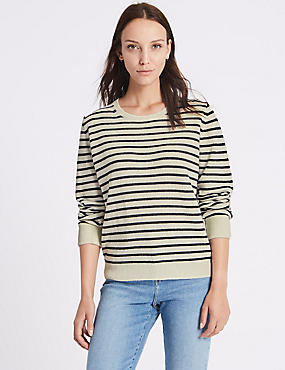Lambswool Rich Striped Round Neck Jumper, CREAM MIX, catlanding