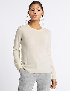 Lambswool Rich Round Neck Jumper, CREAM, catlanding