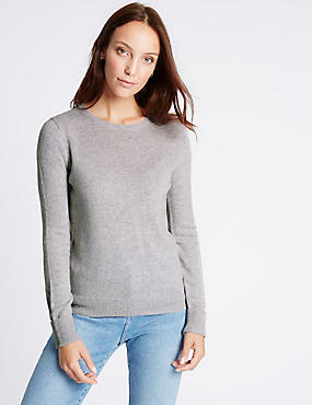 Lambswool Rich Round Neck Jumper, SILVER GREY, catlanding