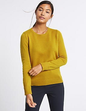Lambswool Rich Round Neck Jumper, WINTER LIME, catlanding