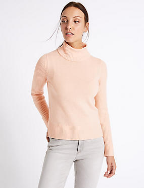 Lambswool Rich Roll Neck Jumper, BLUSH, catlanding