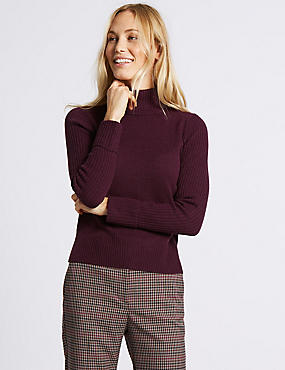 Lambswool Rich Roll Neck Jumper, DARK GRAPE, catlanding