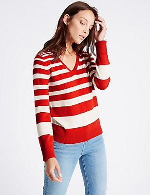 Lambswool Rich Striped V-Neck Jumper, OATMEAL MIX, catlanding