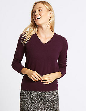 Lambswool Rich V-Neck Jumper, DEEP PURPLE, catlanding