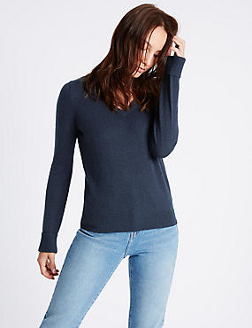 Lambswool Rich V-Neck Jumper, NAVY, catlanding