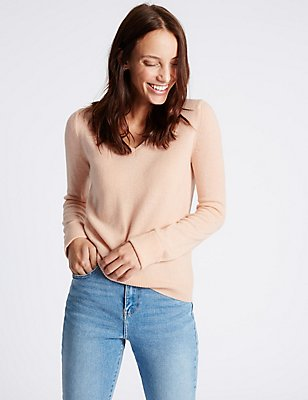 Lambswool Rich V-Neck Jumper, BLUSH PINK, catlanding
