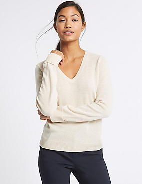 Lambswool Rich V-Neck Jumper, OATMEAL MIX, catlanding