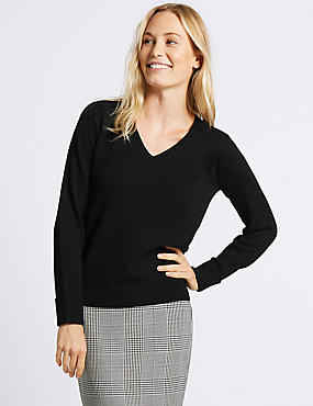 Lambswool Rich V-Neck Jumper, BLACK, catlanding