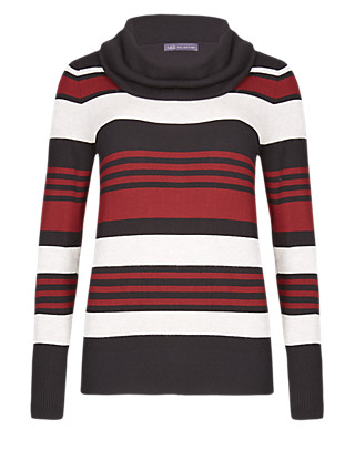 Cowl Neck Striped Jumper Clothing