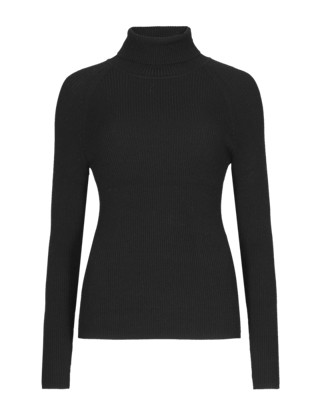 Polo Neck Ribbed Jumper Clothing