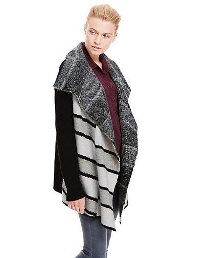 Bold Monochrome Striped Waterfall Cardigan | M&S