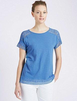 Lace Trim T-Shirt, CORNFLOWER, catlanding