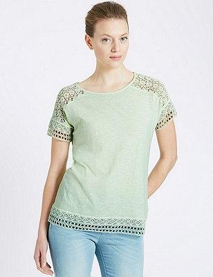 Lace Trim T-Shirt, LIME, catlanding